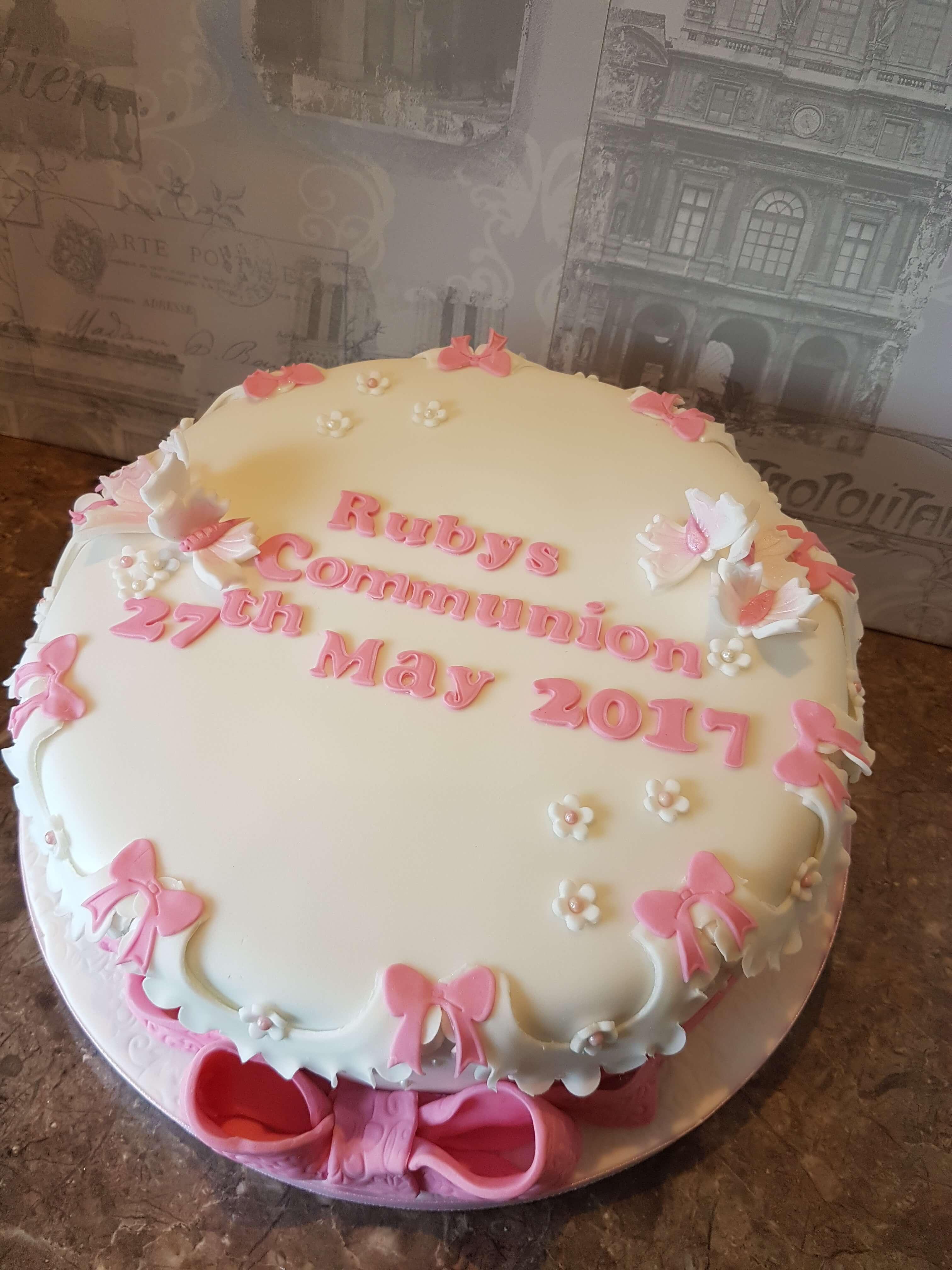 Bows & Butterflies Communion Cake