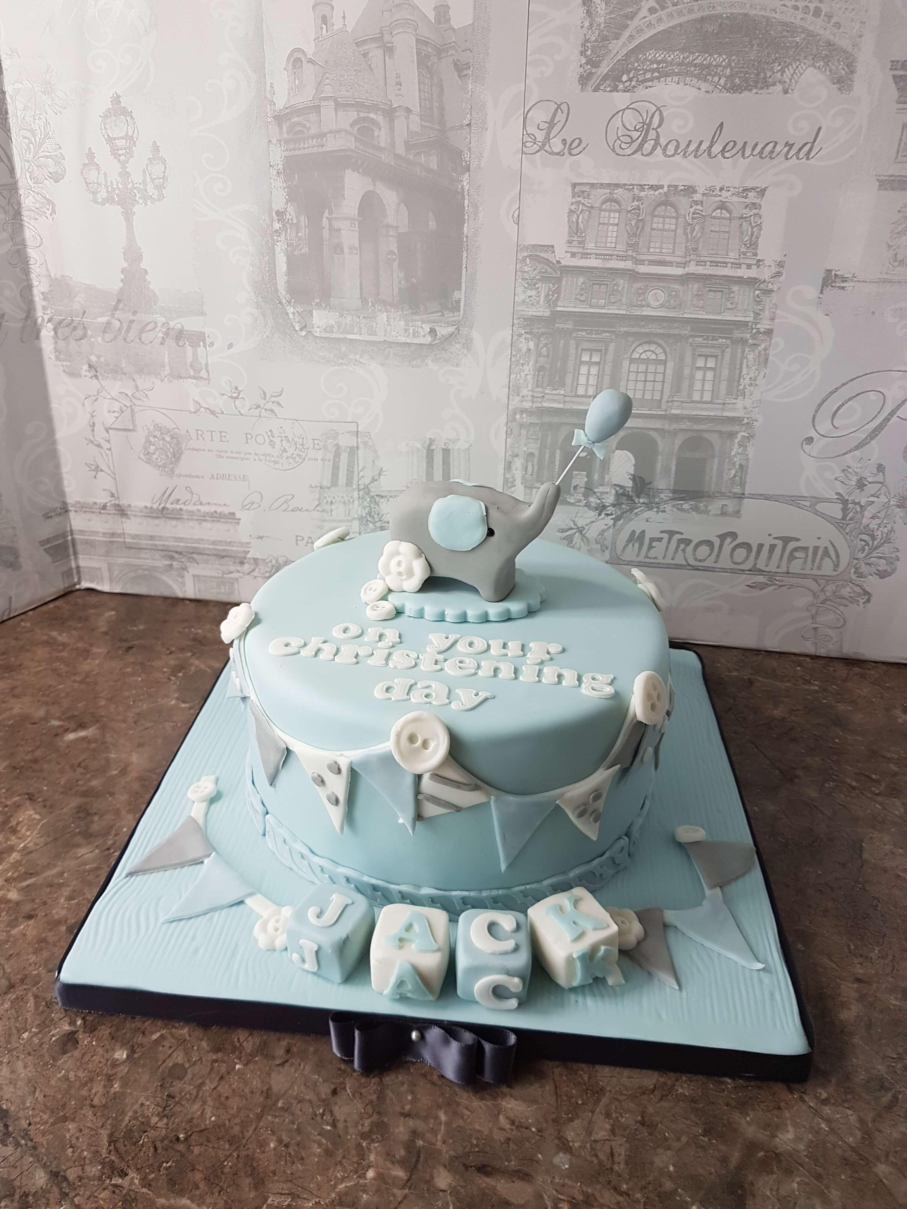 Little elephant Christening Cake