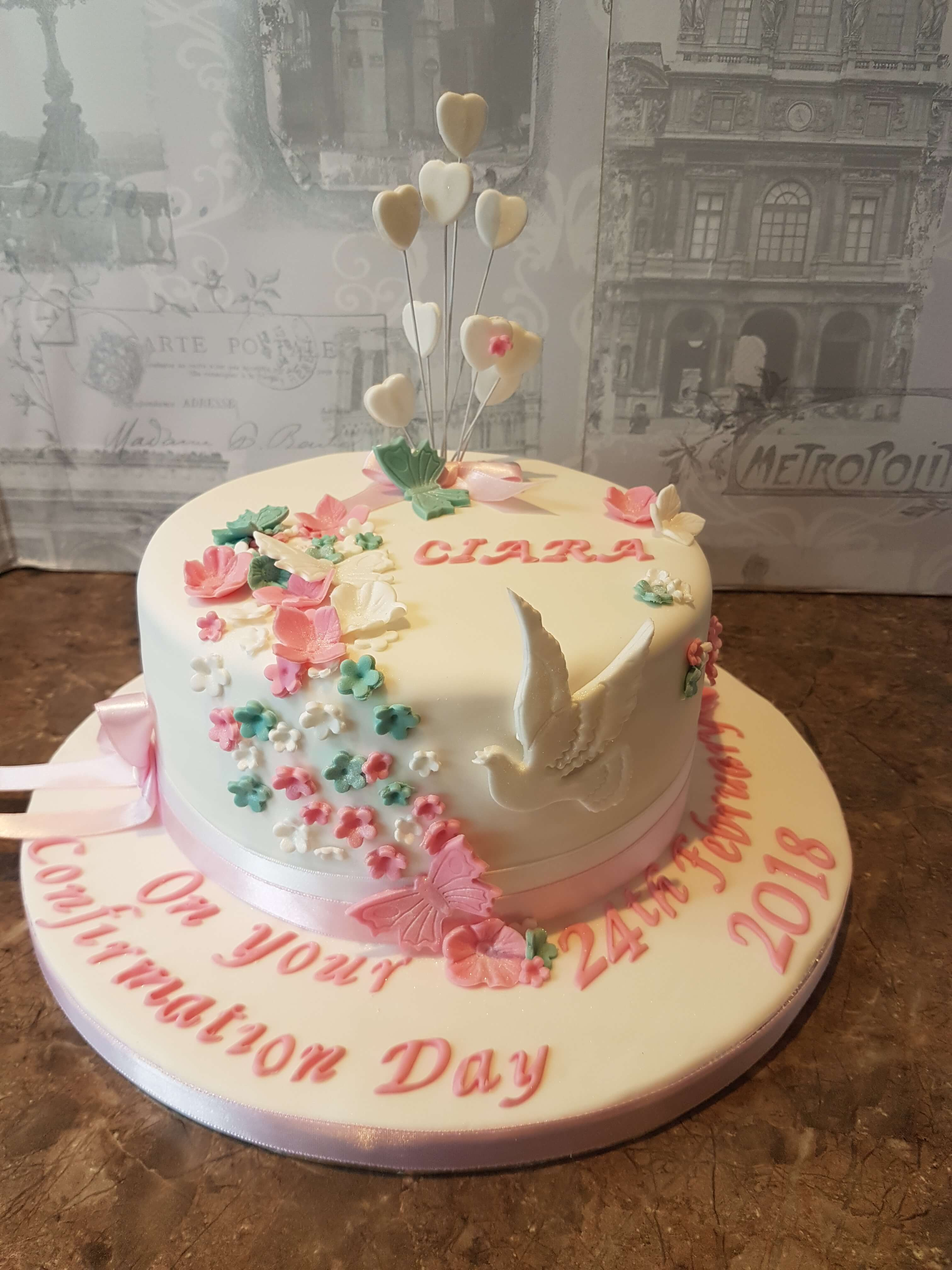 A burst of Flowers Confirmation Cake