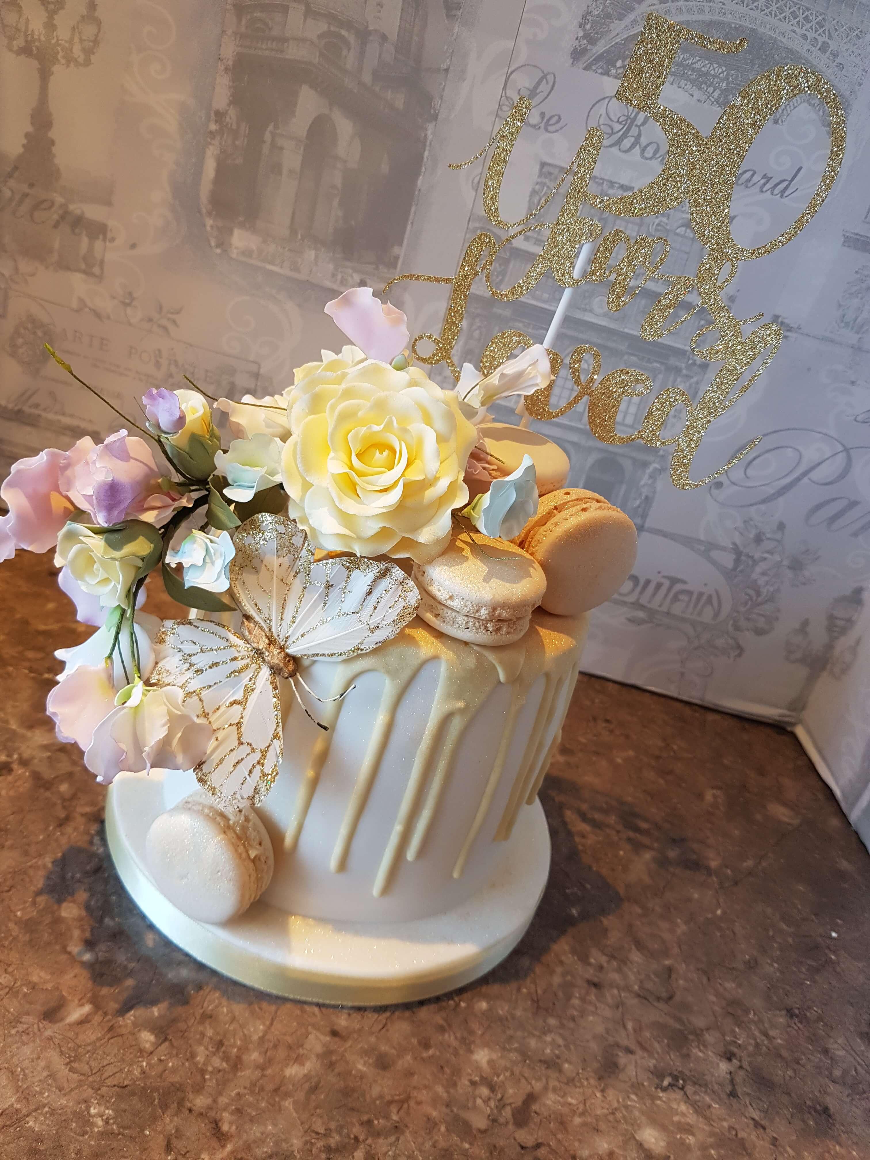 Beautiful Floral Drip Cake