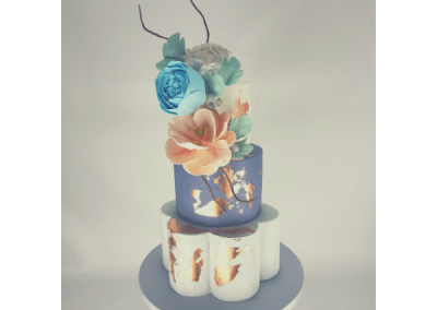 stylish wedding cake with flowers